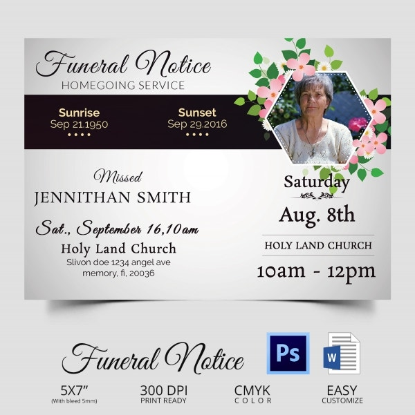 Funeral Notice   Word Psd Format Download  Free  Premium