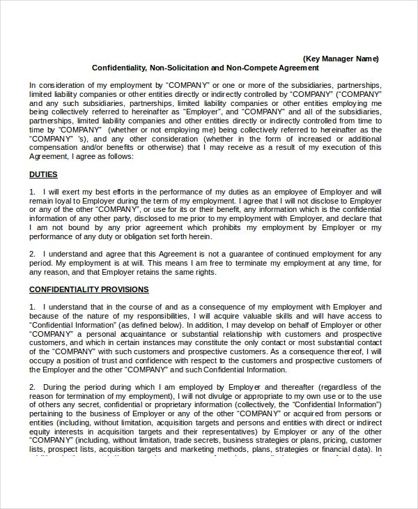 confidentiality non compete agreement template