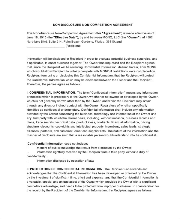 9 non compete agreements free sample example format for Non circumvention non disclosure agreement template