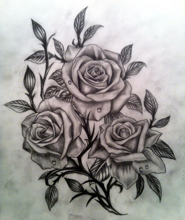 20 drawings of roses free psd ai eps format document for Black and gray rose tattoos