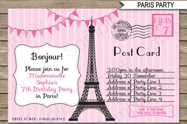 Paris Invitation Postcard Template