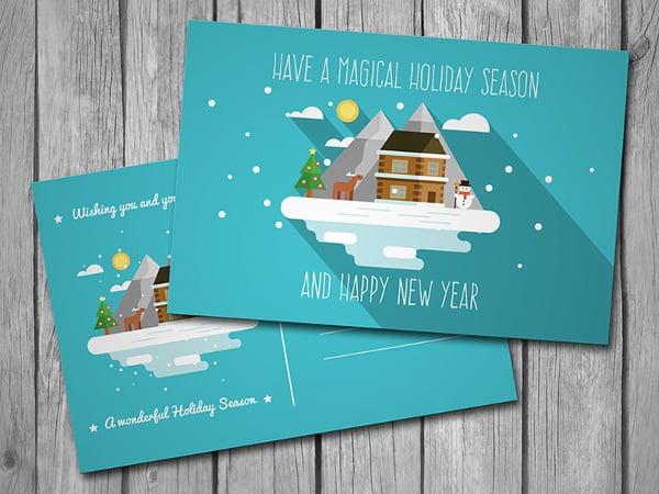 flat new year postcard