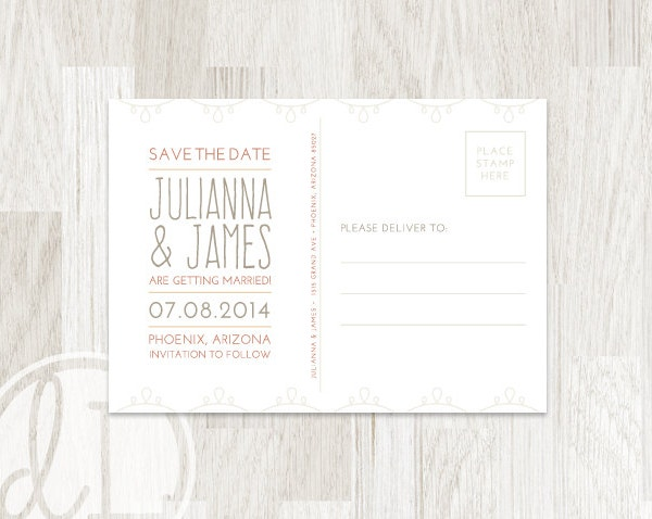 Postcard Template Free PSD Vector EPS AI Format Download - Save the date postcard template