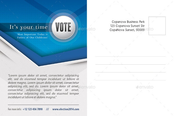 political election mailer postcard template