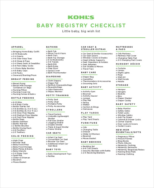 photograph regarding Baby Checklist Printable called Youngster Registry Listing - 12+ Absolutely free Term, PDF, PSD Data files