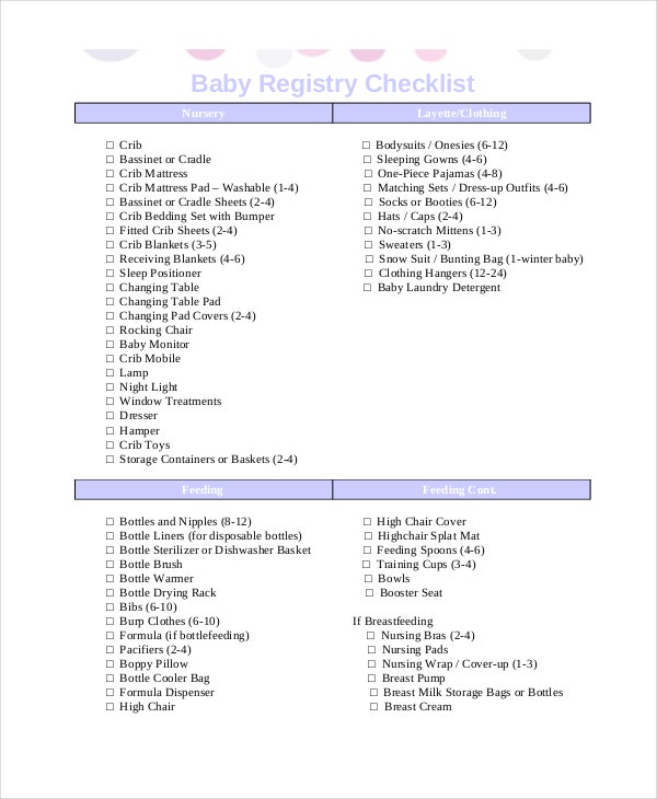 Checklist For Baby Shower Registry