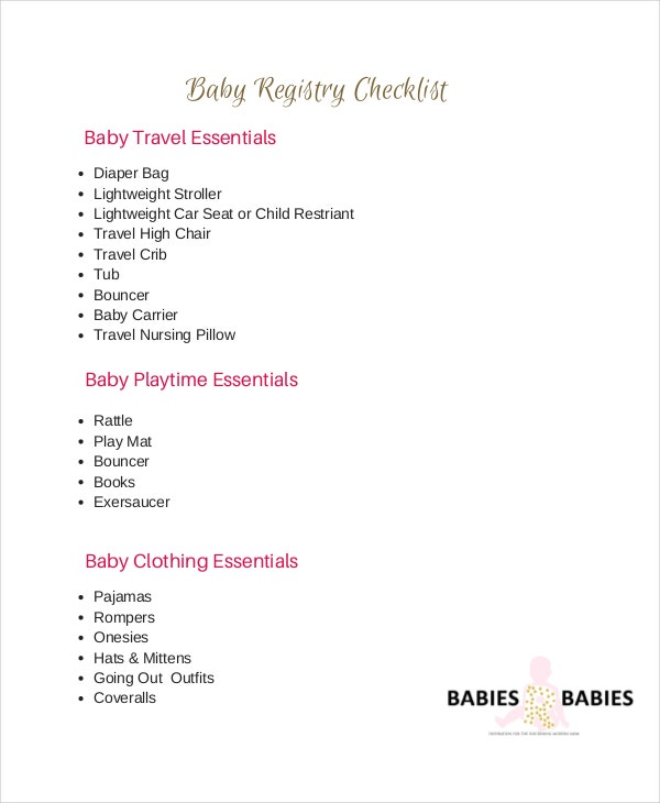 Baby Registry Checklist   Free Word Pdf Psd Documents
