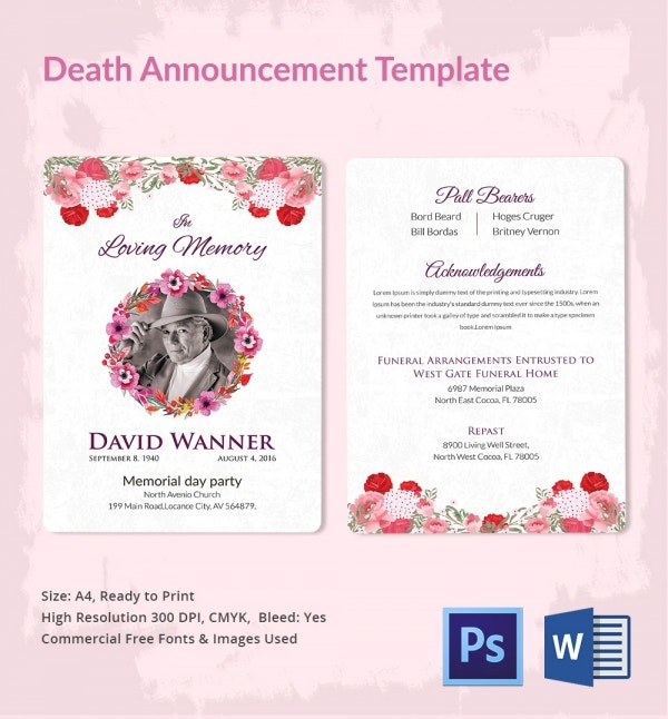 Memorable Death Announcement Template