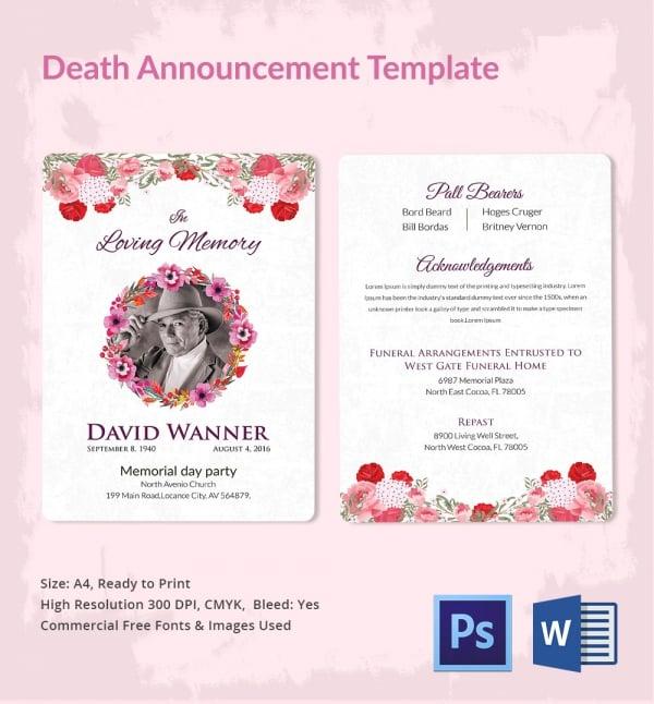 Death Announcement 5 Word PSD Format Download Free Premium