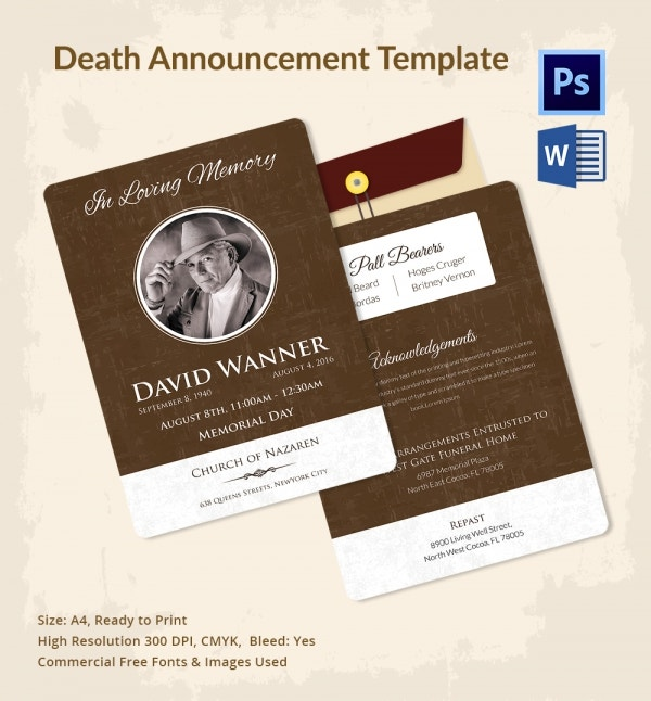 Premium Death Announcement Template