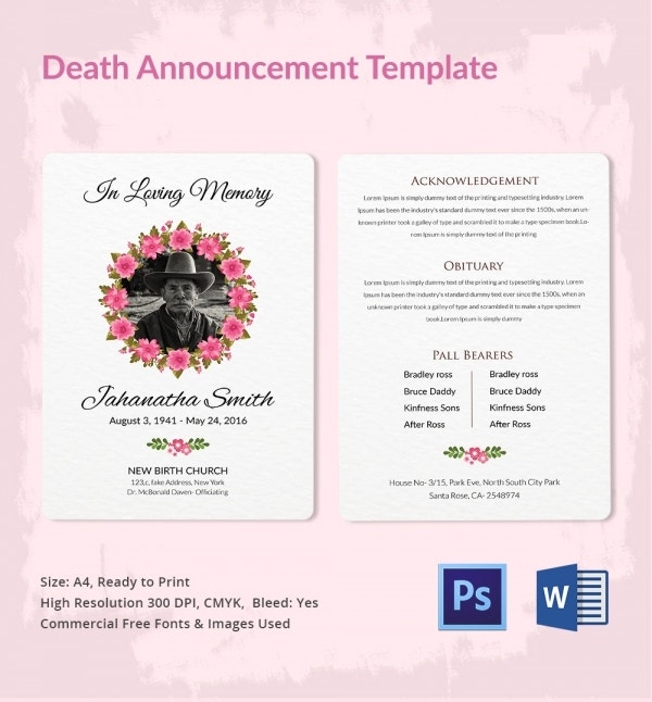 Obituary Death Announcement Template