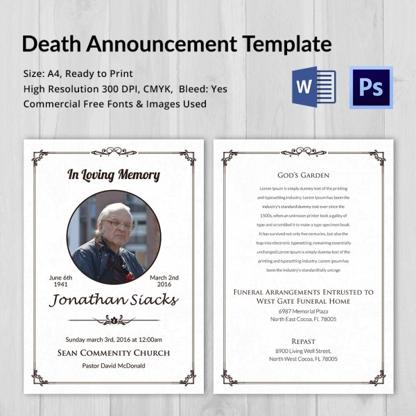 Charming Best Death Announcement Template Download With Funeral Announcements Template