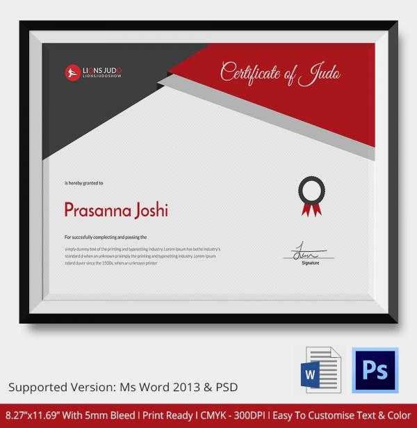 Judo Certificate Premium Template