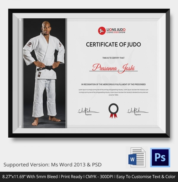 Judo Certificate Presentation Template