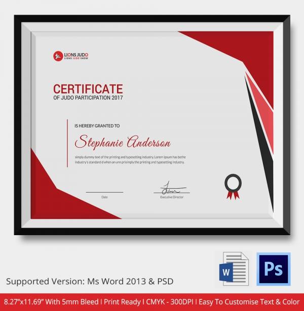 Certificate of Judo Appreciation Template