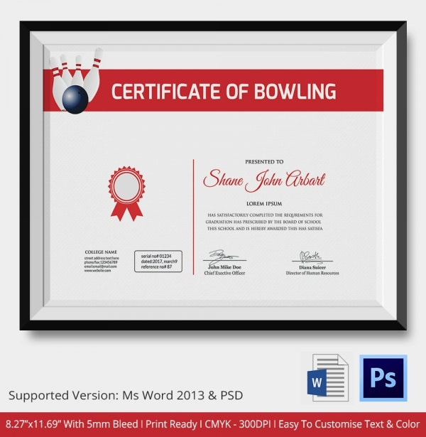 Bowling certificate 5 word psd format download free bowling certificate premium template yelopaper Image collections