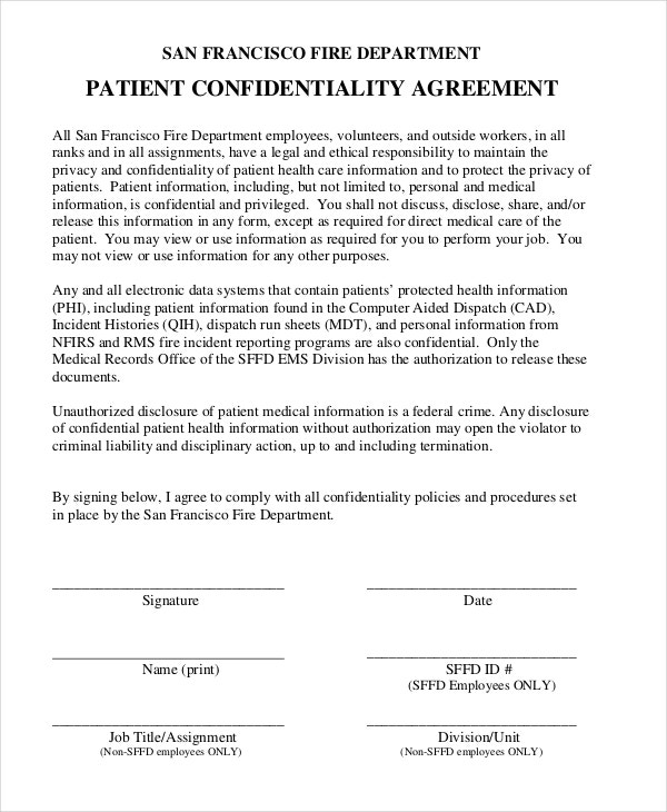 patient confidentiality agreement template