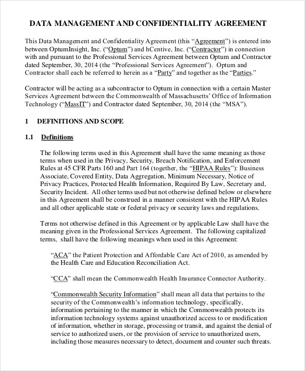 Data Confidentiality Agreement Template