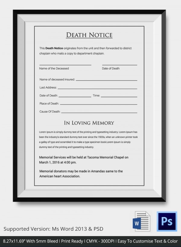 Death Notice Template Download