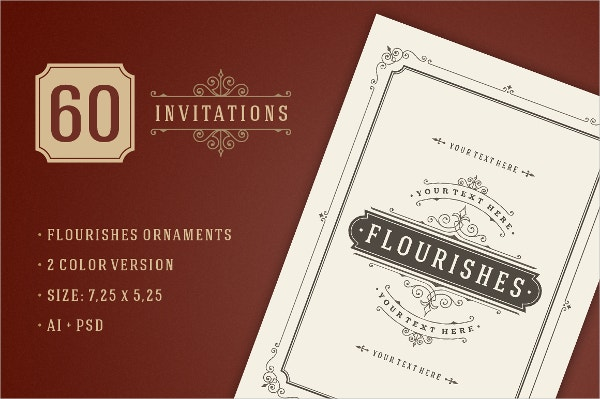 60 Vintage Ornament Invitation Templates