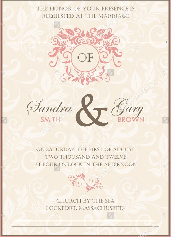 beautiful vintage floral wedding invitation