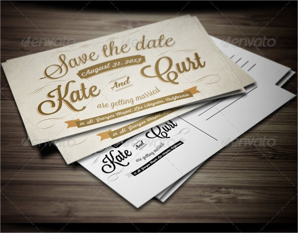 Vintage Wedding Invitation Postcard Template