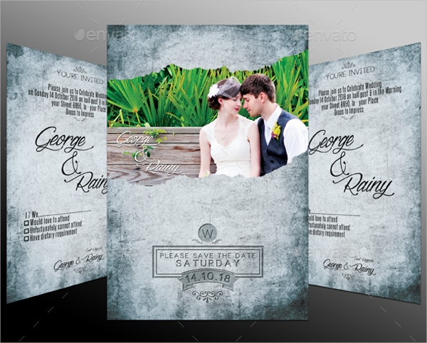 Vintage Wedding Invitation Template Design