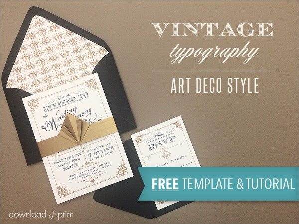Vintage Wedding Invite Template