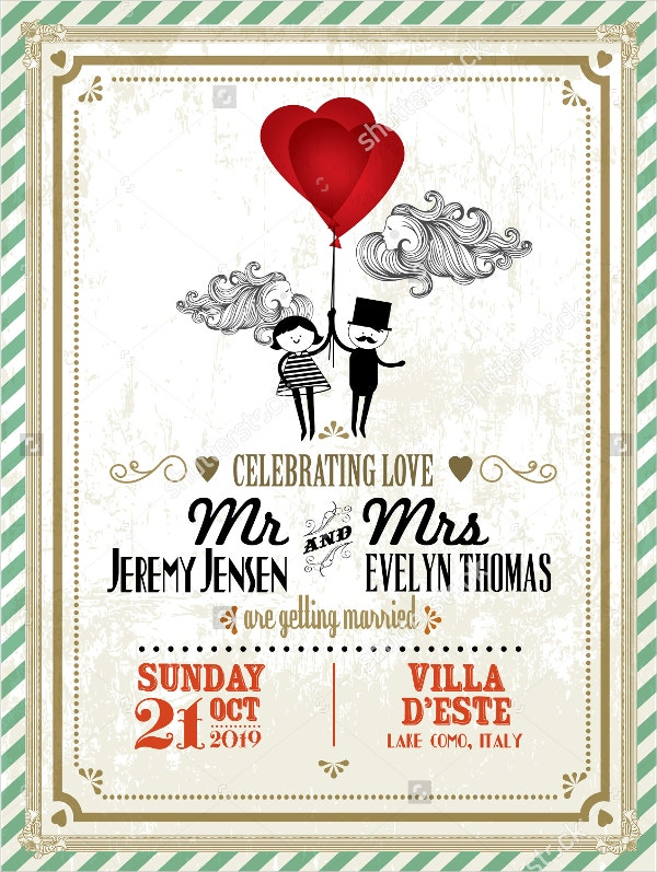 Vintage Wedding Invite Card Template
