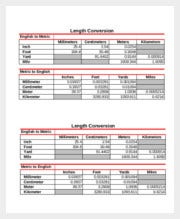 Kid Metric Length Conversion Chart Template