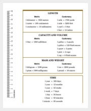 Metric Mass Weight Conversion Chart Template