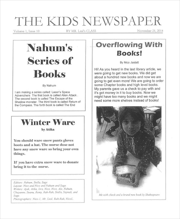 Newspaper emplate For Kids