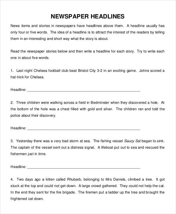 Newspaper Template 9 Free Word PDF Documents Download – Newspaper Headline Template