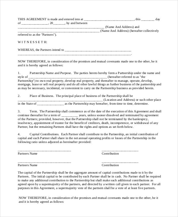 Lovely Real Estate Partnership Contract With Business Partner Contract