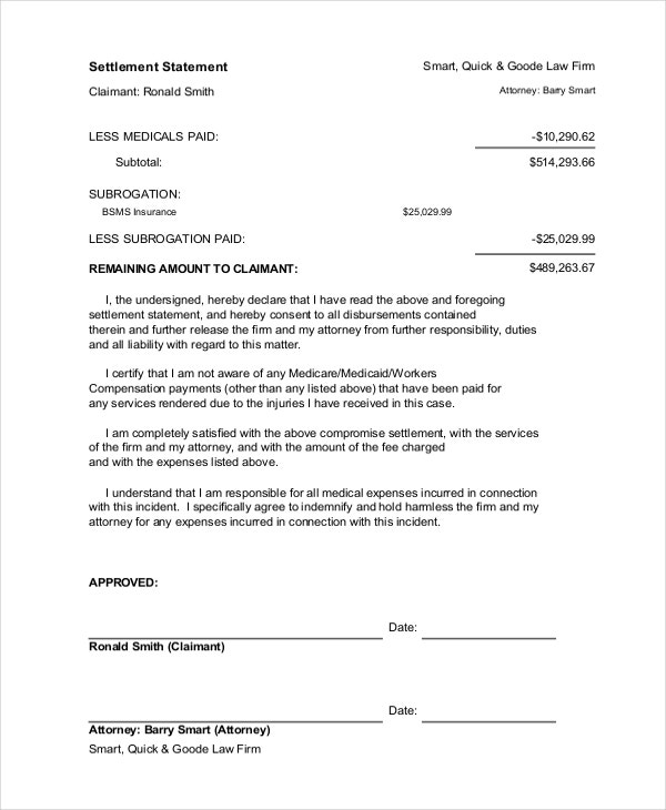 legal settlement statement example