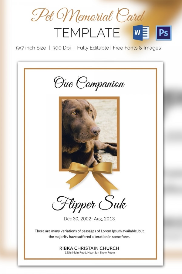 Obituary Pet Memorial Card Template  Memorial Card Template Word