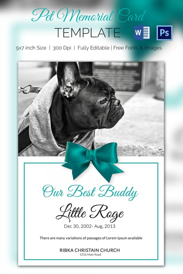 free memorial card template - pet memorial card 5 word psd format download free