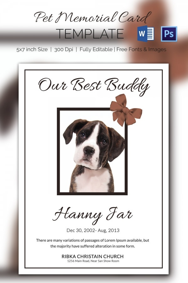 High Quality Premium Pet Memorial Card Download  Memorial Card Template Word