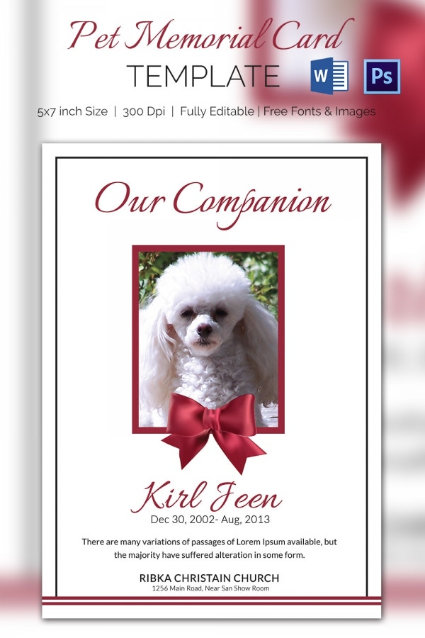 Lovely Pet Memorial Card Template
