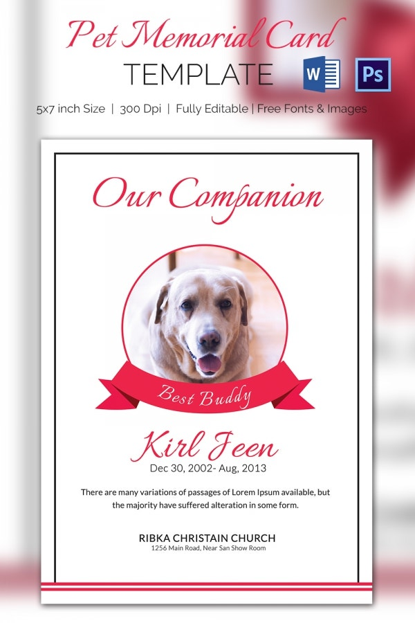 Companion Pet Memorial Card Mockup  Memorial Card Template Word