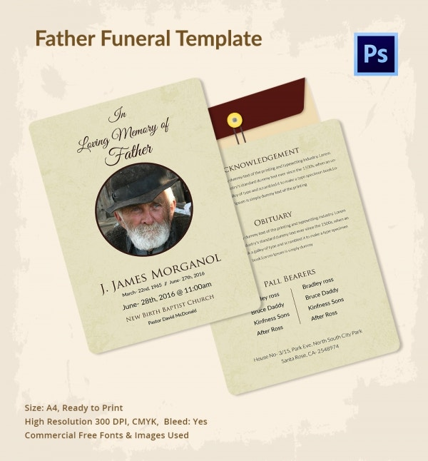 Wonderful Father Funeral Program Template