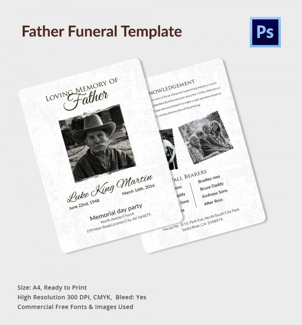 Funeral Template For Father   Free Psd Eps Ai Format