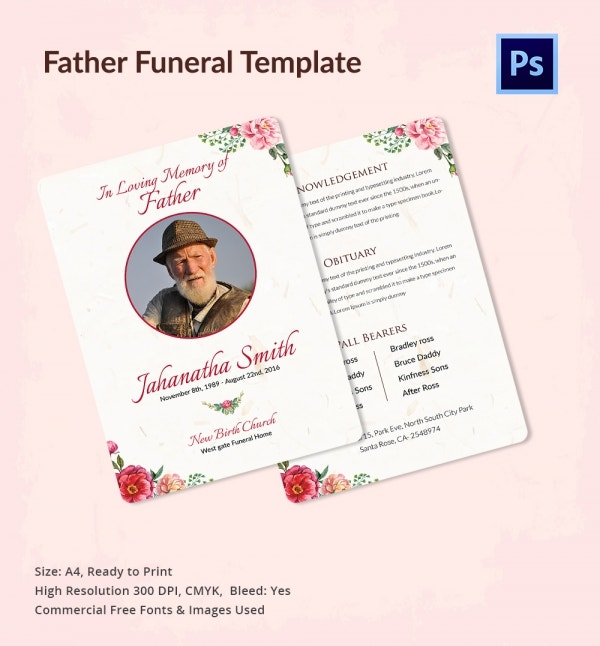 Funeral Prayer Requests Template for Father