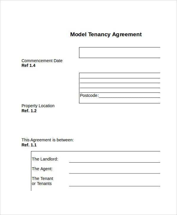 Model Tenancy Agreement Template
