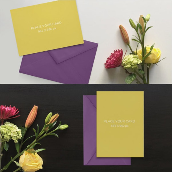 Purple Floral Greetings Card Mockup