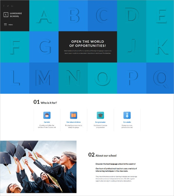 Language School Responsive HTML Website Template $75