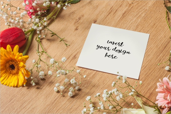 square greeting card mockup with flowers