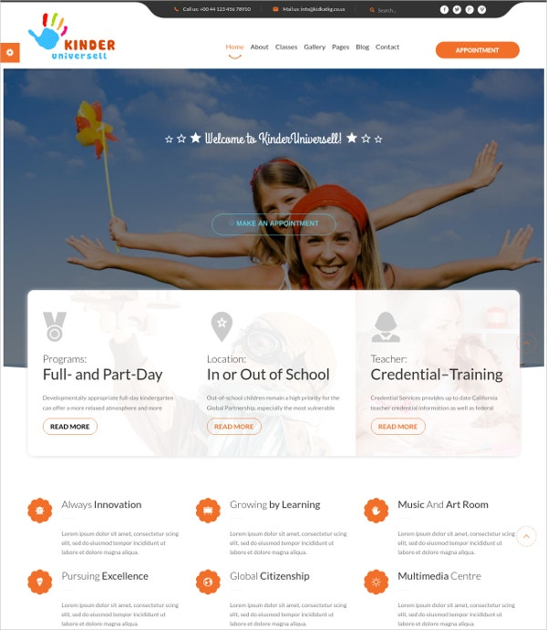 Kindergarten School WordPress Website Theme $49