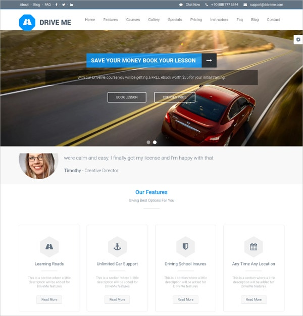 Driving School WordPress Website Theme $49