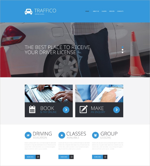 Traffic School Responsive Website Template $75